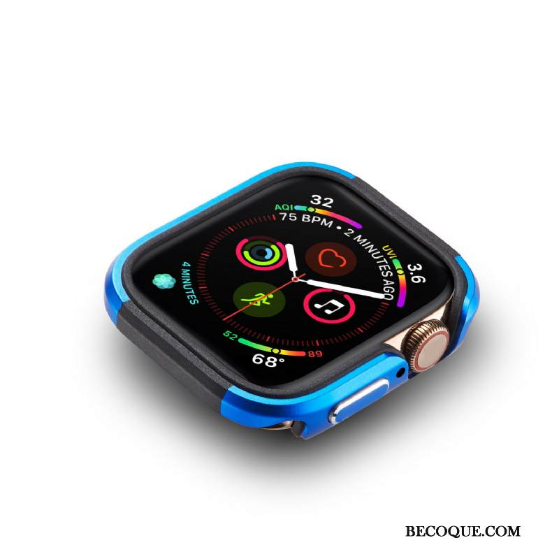Kuori Apple Watch Series 4 Metalli Kulta Sininen, Kotelo Apple Watch Series 4 Suojaus Pu Kehys