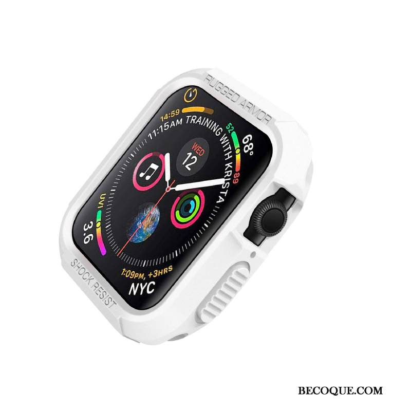 Kuori Apple Watch Series 4 Silikoni Valkoinen Murtumaton, Kotelo Apple Watch Series 4 Suojaus